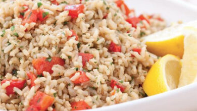 Photo of Baked Brown Rice with Roasted Red Peppers and Onions