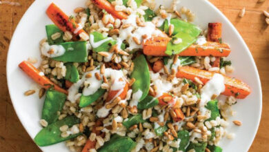 Photo of Barley with Roasted Carrots, Snow Peas, and Lemon-Yogurt Sauce