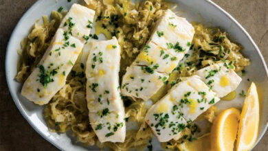 Photo of Braised Halibut with Leeks and Mustard