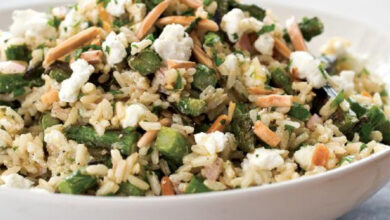 Photo of Brown Rice Salad with Asparagus, Goat Cheese, and Lemon